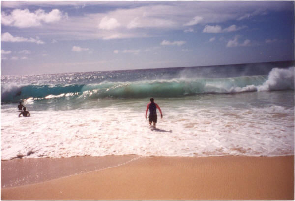 Scott Going in at Sandy Beach - Scott Stephens Surfing
